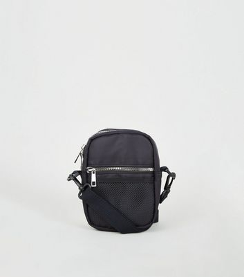 Black Mesh Pocket Cross Body Bag