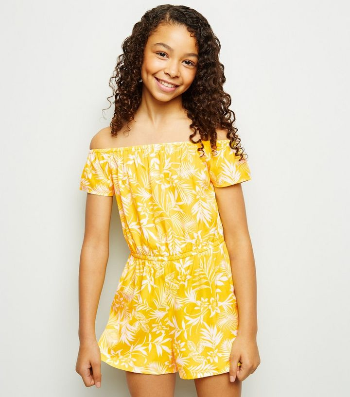 d9cd663ccd Girls Yellow Tropical Bardot Playsuit