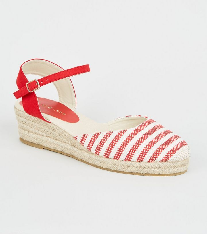 69b59cbbb54 Red Canvas Stripe Woven Espadrille Wedges Add to Saved Items Remove from  Saved Items