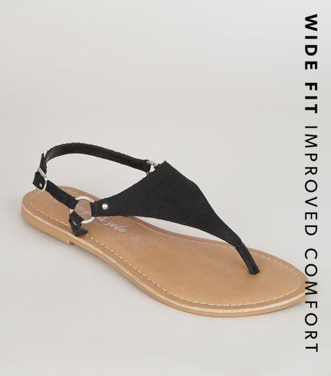 06ae224f492 ... Wide Fit Black Suede V Strap Flat Sandals ...