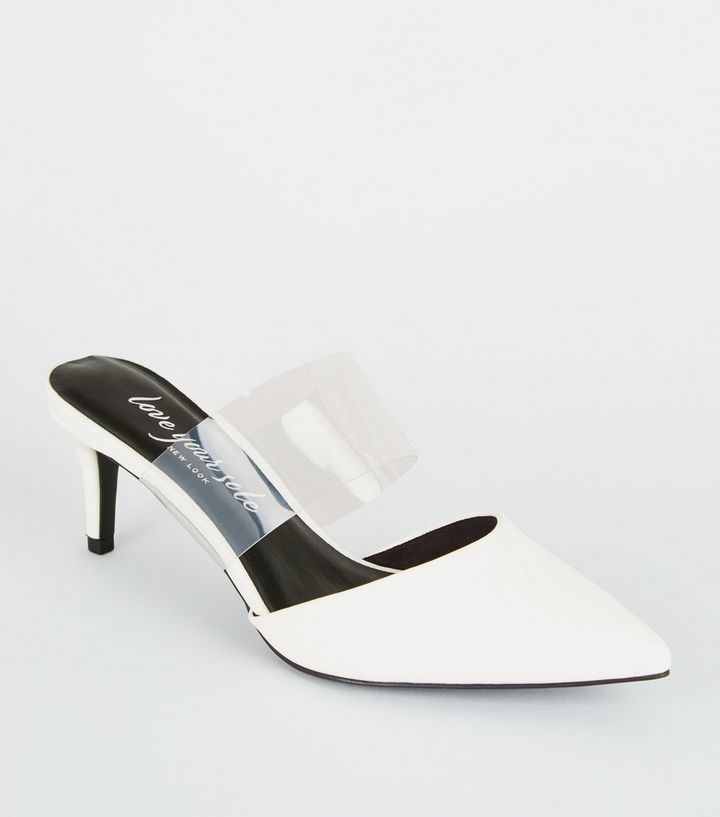 e6ea69406ab White Leather-Look Clear Strap Mules Add to Saved Items Remove from Saved  Items