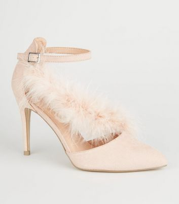 Nude Feather T-Bar Stiletto Heels