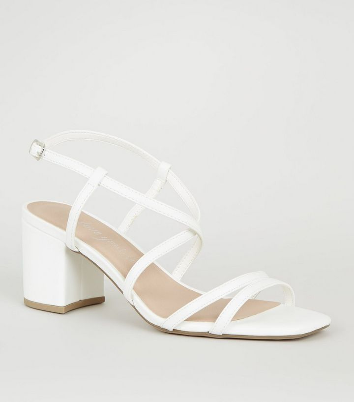 online store hot sale online quality products Wide Fit White Strappy Mid Heel Sandals Add to Saved Items Remove from  Saved Items