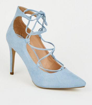Pale Blue Suedette Lace Up Stiletto Heels