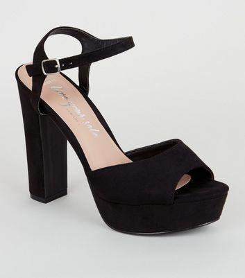 black wide fit platform heels