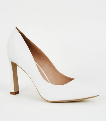 White Faux Croc Panel Flare Heel Courts