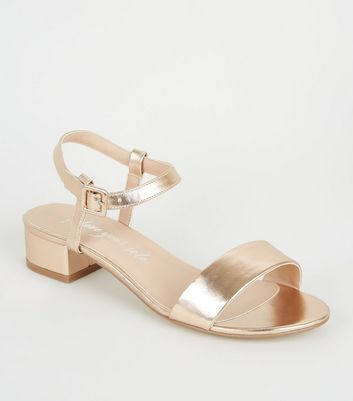 Wide Fit Rose Gold Metallic 2 Part Low Heels