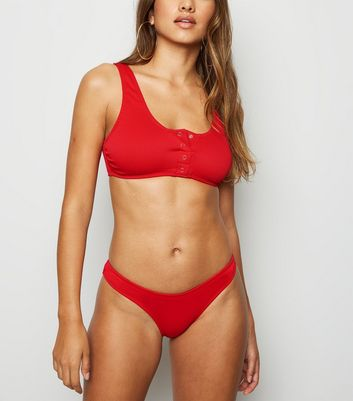 Red Ribbed Popper Crop Bikini Top