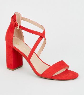 red sandal heels new look