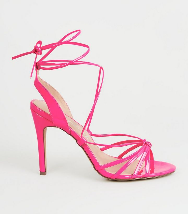 fd6093c399 Pink Patent Strappy Stiletto Heels | New Look