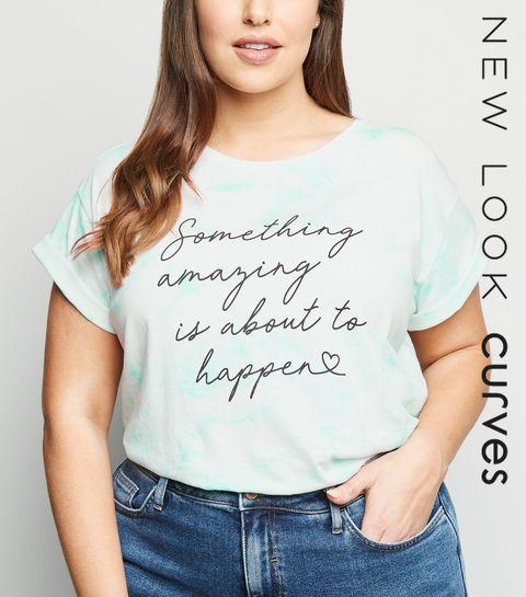 a50af72d31b ... Curves Mint Tie Dye Positive Slogan T-Shirt ...