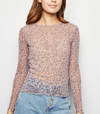 Purple Ditsy Floral Mesh Long Sleeve Top