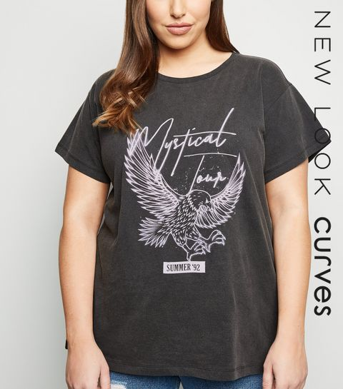 ba11ab0ffe ... Curves Grey Mystical Slogan Eagle T-shirt ...