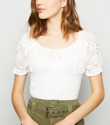 Cream Lace Milkmaid Top