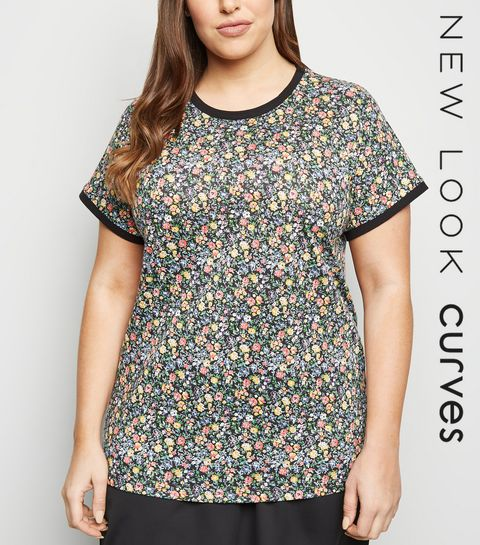 c23d66ca682 ... Curves Black Floral Ringer T-Shirt ...