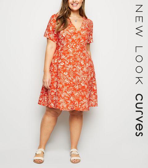 dd0d71ca39 ... Curves Red Tropical Print Tea Dress ...