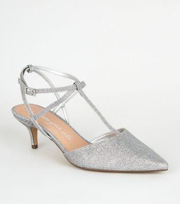 Wide Fit Silver Diamanté Glitter Kitten Heels