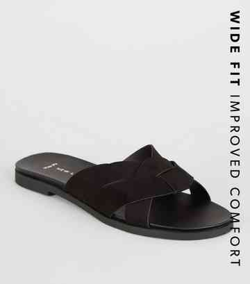 Wide Fit Black Woven Strap Footbed Sliders