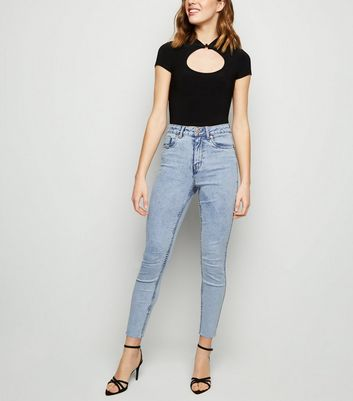 Blue Acid Wash High Waist 'lift & Shape' Skinny Jeans by New Look