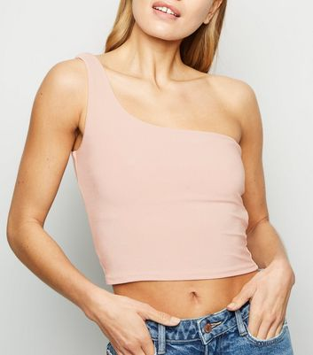 Pale Pink Glittery One Shoulder Crop Top