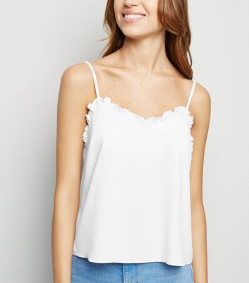 Off White Frill Trim Cami
