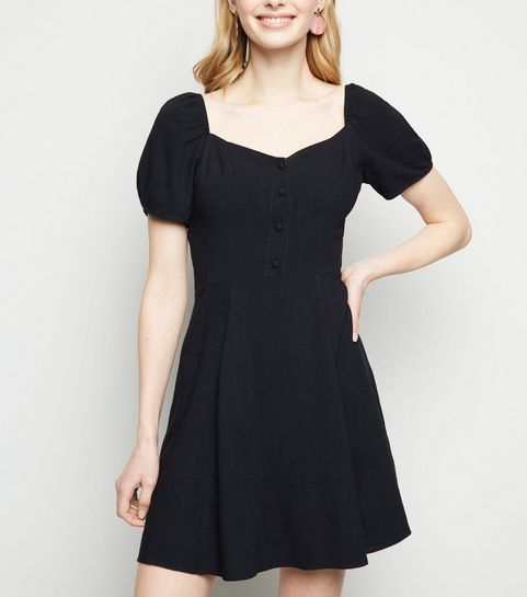 9b237a05de ... Black Linen Look Puff Sleeve Dress ...