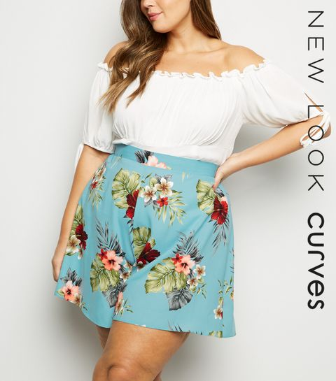 f89f060218ca8 ... Curves Blue Floral Wide Leg Shorts ...