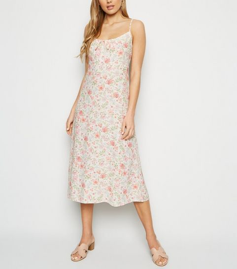 9057fe1c9c8 ... White Floral Tie Front Midi Dress ...