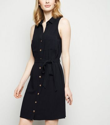 Black Linen Look Sleeveless Shirt Dress