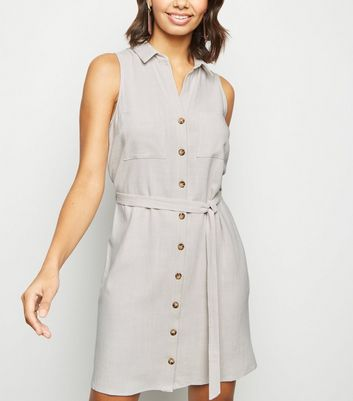 Stone Linen Look Sleeveless Shirt Dress