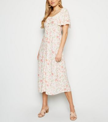 White Floral Button Up Midi Milkmaid Dress