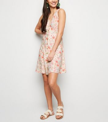 White Floral Button Up Sleeveless Tea Dress