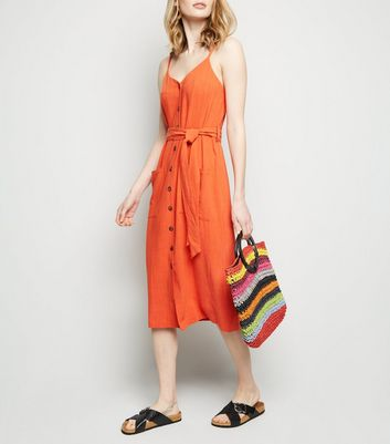 Orange Linen Look Belted Midi Dress