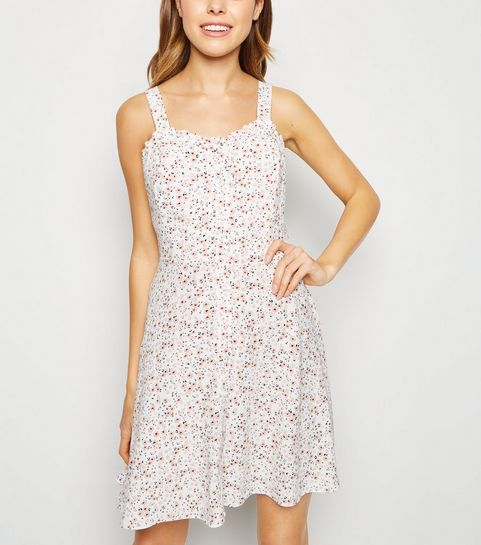 18e14354e12 ... Off White Ditsy Floral Frill Trim Mini Sundress ...