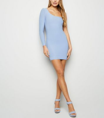 Pale Blue Glitter One Shoulder Bodycon Dress