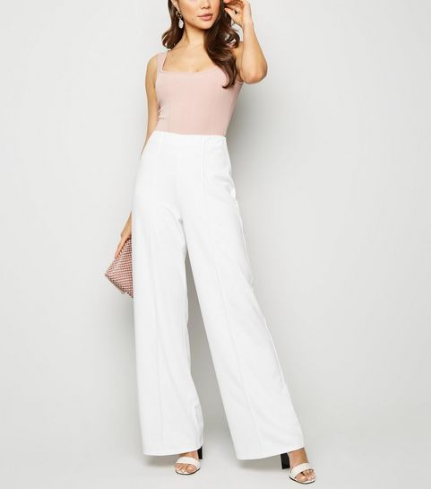 ... White Pintuck Wide Leg Trousers ...