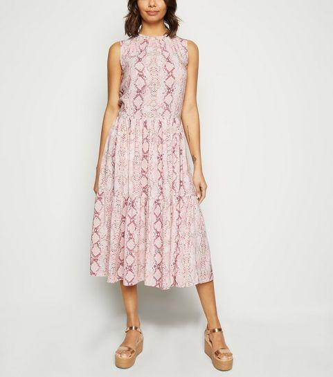 b83fbdfcc3b ... Pink Snake Print Tiered Midi Smock Dress ...