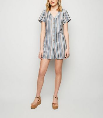 Blue Stripe Linen-Look Button Up Playsuit