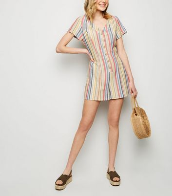 Red Stripe Linen-Look Button Up Playsuit