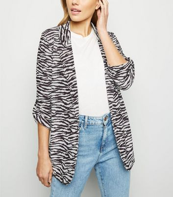 New Look Womens Zebra Scuba Jacket