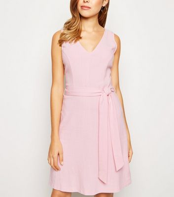 Pink Linen Look Belted Pinafore Dress