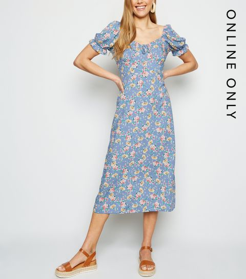 fe5375d022 ... Blue Floral Off Shoulder Midi Milkmaid Dress ...