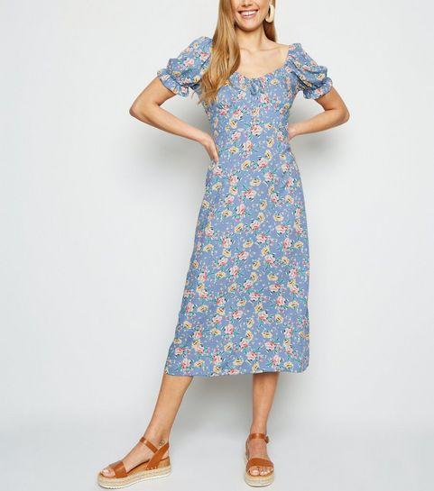 a887ce3b13b ... Blue Floral Off Shoulder Midi Milkmaid Dress ...