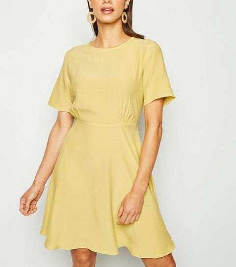 6157e27487 ... Yellow Round Neck Tea Dress ...