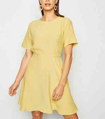 Yellow Round Neck Tea Dress