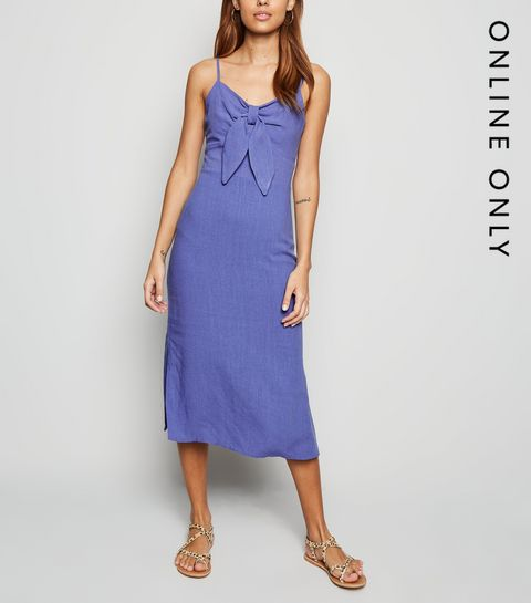 eb38c5ef094 ... Blue Linen Look Tie Front Midi Dress ...