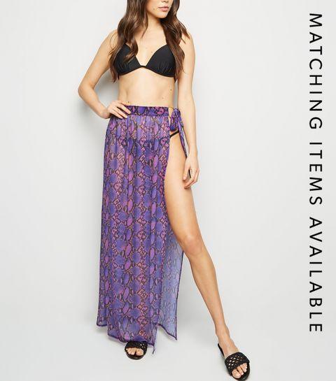 fb191d3518 ... Purple Snake Print Mesh Beach Sarong ...