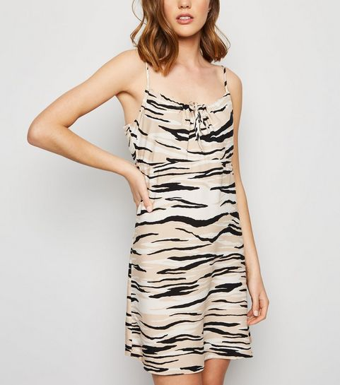 4357089b7a8 ... Brown Zebra Print Mini Slip Dress ...