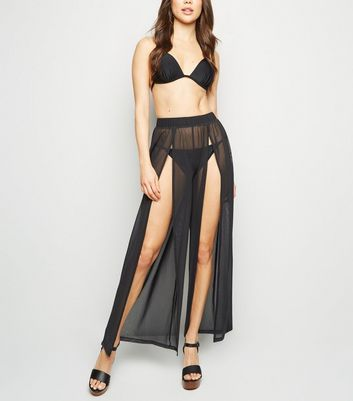 Black Mesh Beach Trousers