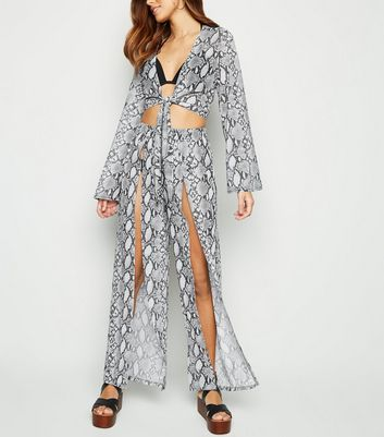 Light Grey Snake Print Mesh Beach Trousers